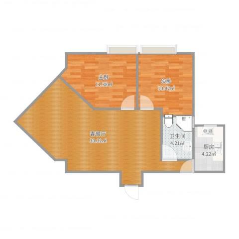 广发花园H房2室2厅1卫1厨76.00㎡户型图