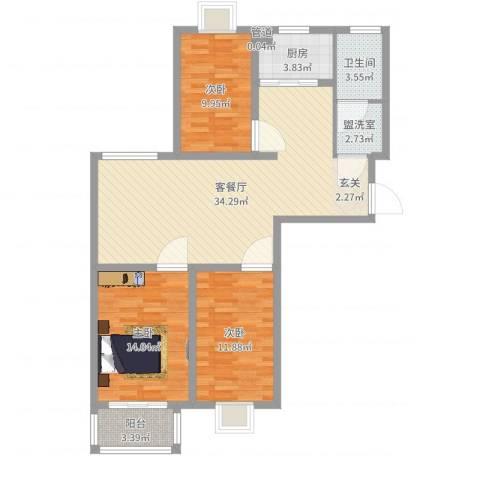 中央华府3室4厅1卫1厨105.00㎡户型图