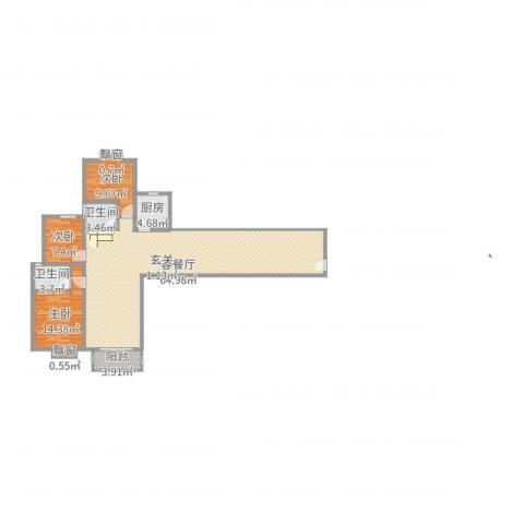 泰和家园3室2厅2卫1厨140.00㎡户型图
