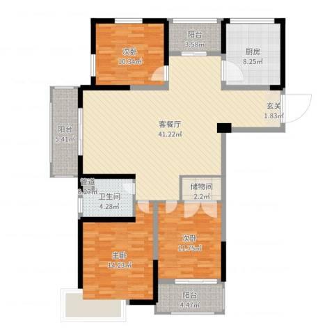 泰恒华府3室2厅1卫1厨132.00㎡户型图