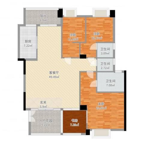 景观一品4室2厅3卫1厨175.00㎡户型图