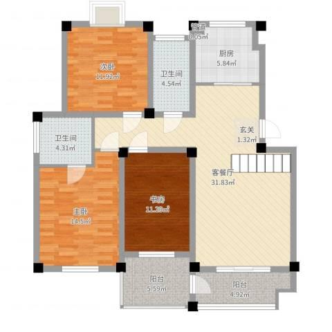 丽景天城3室2厅2卫1厨118.00㎡户型图