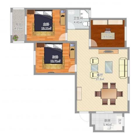 月城熙庭3室1厅1卫1厨110.00㎡户型图