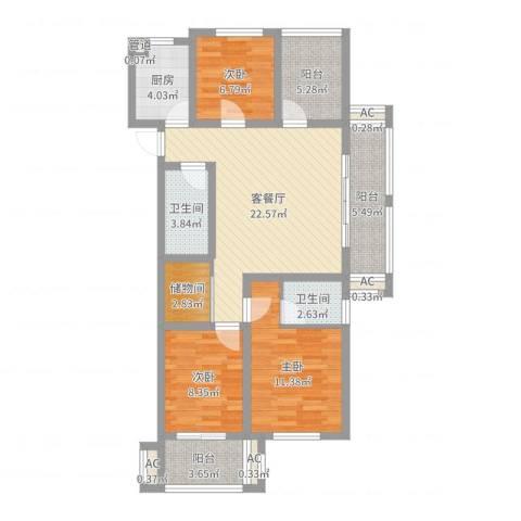 易居公馆3室2厅2卫1厨98.00㎡户型图