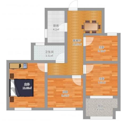 幸福城居住区经济适用房4室2厅1卫1厨74.00㎡户型图
