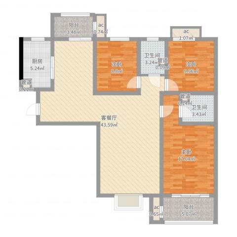 朝阳国际广场3室2厅2卫1厨128.00㎡户型图