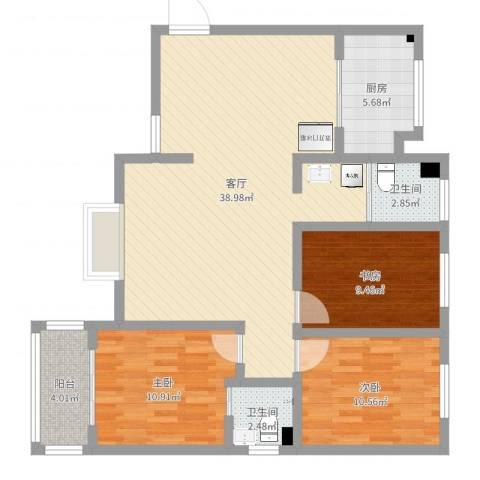 翡翠庄园3室1厅2卫1厨106.00㎡户型图