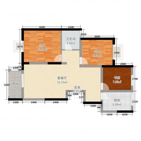 天久一品3室2厅1卫1厨112.00㎡户型图