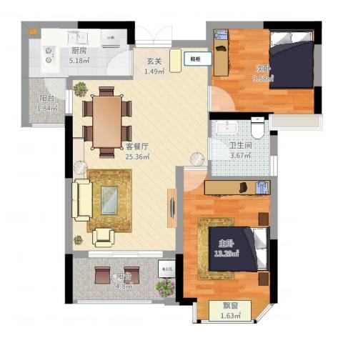 德晟君园2室2厅1卫1厨80.00㎡户型图