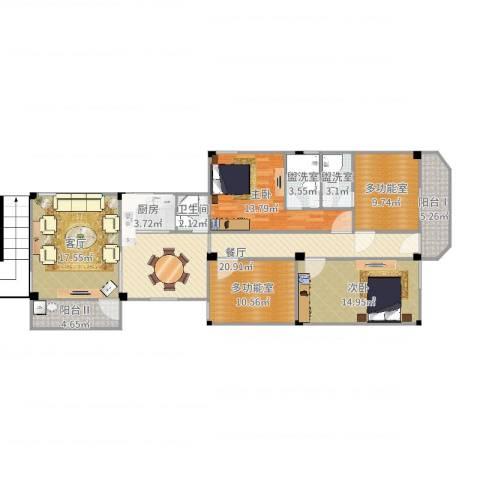 老人民医院宿舍2室6厅3卫1厨137.00㎡户型图