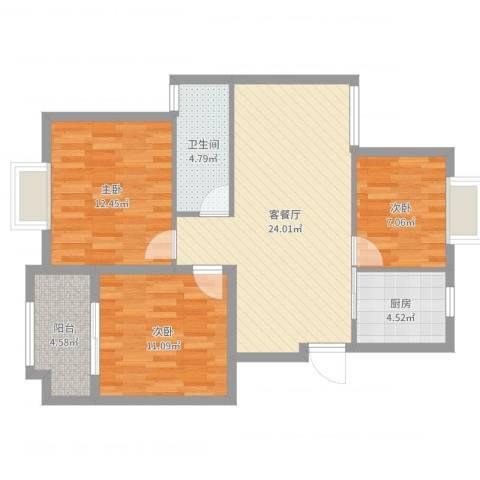 奥体清华苑3室2厅1卫1厨86.00㎡户型图