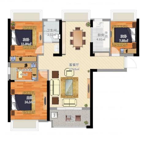 广电兰亭荣荟3室2厅1卫1厨112.00㎡户型图