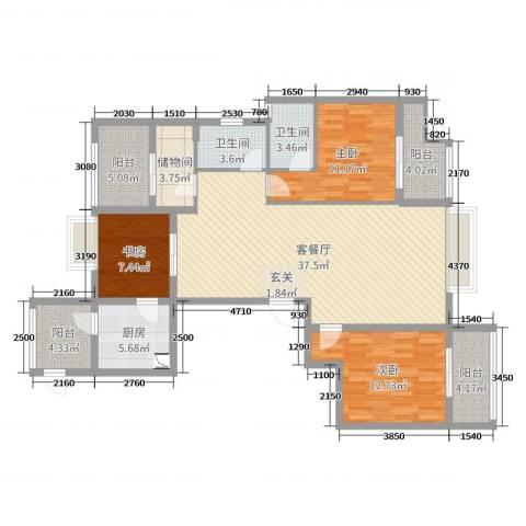 铂金汉宫3室2厅2卫1厨128.00㎡户型图