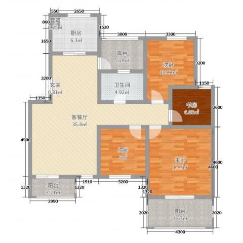 帝景观澜4室2厅1卫1厨120.00㎡户型图