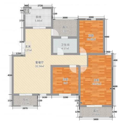 帝景观澜3室2厅1卫1厨111.00㎡户型图