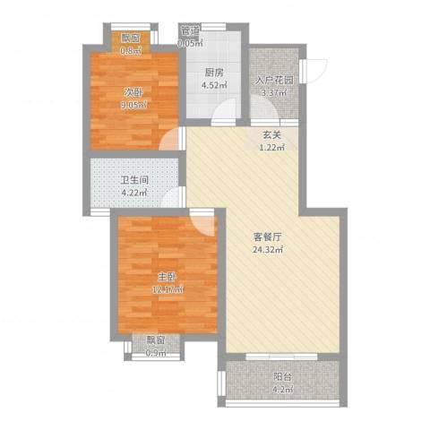 亚东同城印象2室2厅1卫1厨77.00㎡户型图