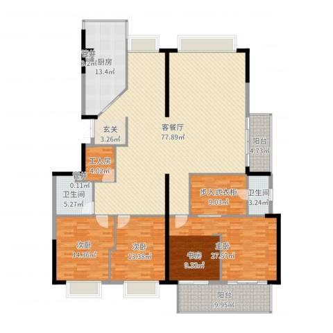 蔚蓝国际3室2厅2卫1厨229.00㎡户型图