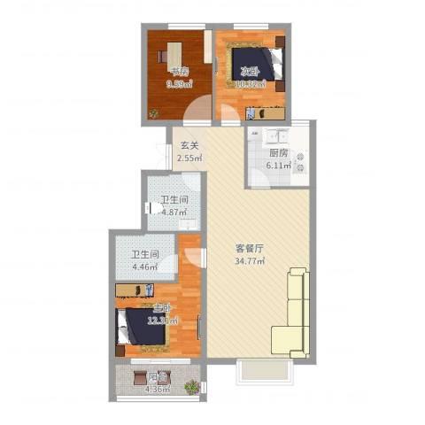 恒安新东城3室2厅2卫1厨108.00㎡户型图
