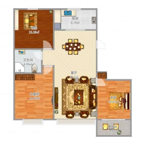 和谐家园3室1厅1卫1厨107.00㎡户型图