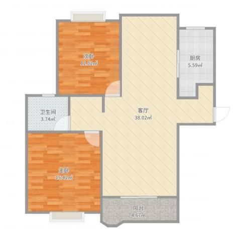 合生杭州湾国际新城2室1厅1卫1厨99.00㎡户型图