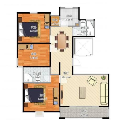 虹口典范二期3室1厅2卫1厨88.00㎡户型图