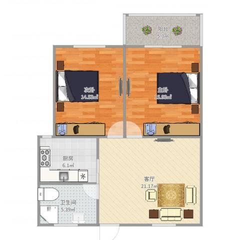 虹华大楼2室1厅1卫1厨86.00㎡户型图