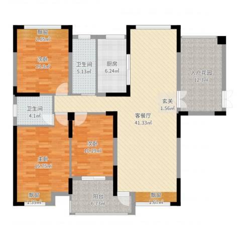 暨阳上河园二期3室3厅2卫1厨144.00㎡户型图