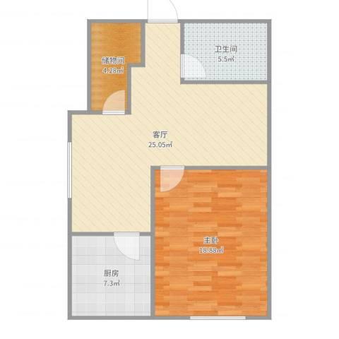 新海蓝钻1室1厅1卫1厨76.00㎡户型图
