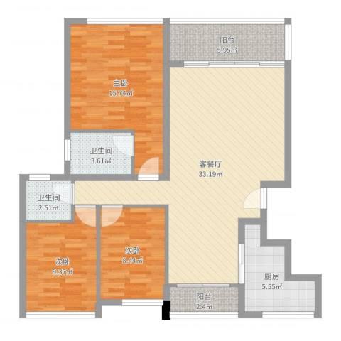 万科城市高尔夫花园二期3室2厅2卫1厨108.00㎡户型图