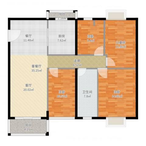 世纪新潮豪园4室2厅1卫1厨126.00㎡户型图