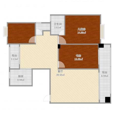 西子山庄2室1厅1卫1厨123.00㎡户型图