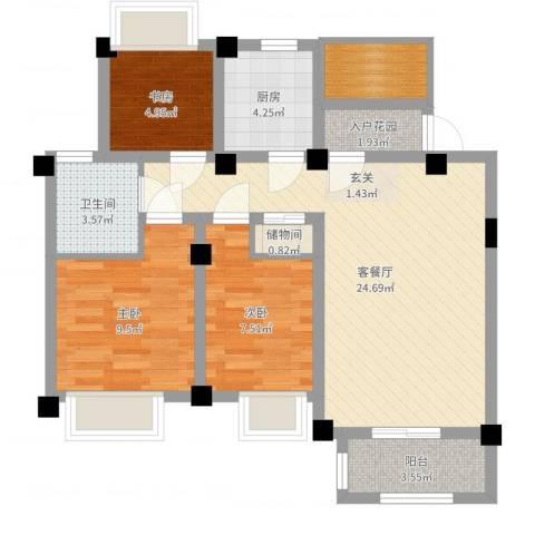 澳海胥江湾3室2厅1卫1厨79.00㎡户型图