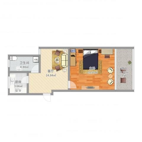 金杨七街坊1室1厅1卫1厨62.00㎡户型图