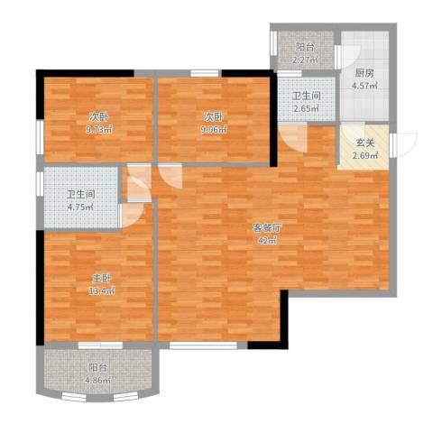 枫丹雅筑3室2厅2卫1厨118.00㎡户型图