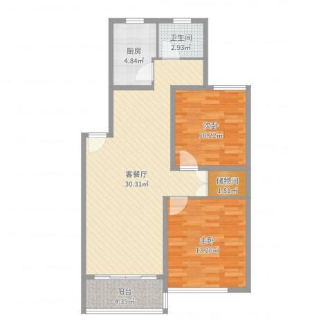 新江湾城时代花园2室2厅1卫1厨85.00㎡户型图