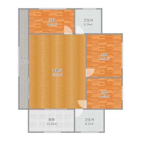 新江湾城时代花园3室2厅2卫1厨180.00㎡户型图