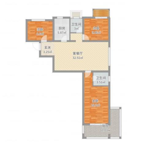 富友名族大厦3室2厅2卫1厨117.00㎡户型图