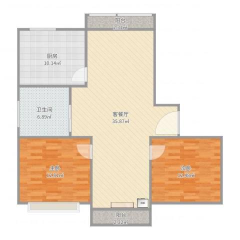 丰水宝坻西苑2室2厅1卫1厨103.00㎡户型图