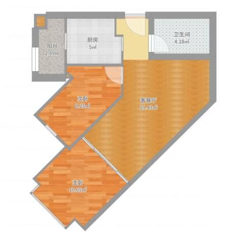 跑马地花园2室2厅1卫1厨65.00㎡户型图