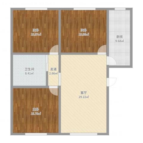 天和广场3室1厅1卫1厨123.00㎡户型图