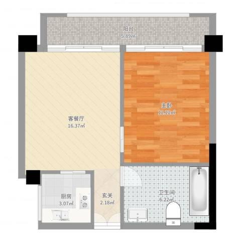四海城1室2厅1卫1厨55.00㎡户型图