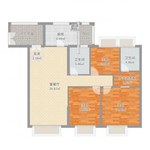 海湾半山3室2厅2卫1厨123.00㎡户型图
