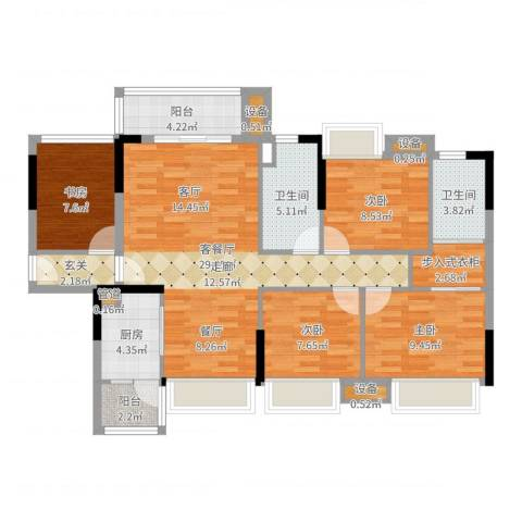 湘域中央花园4室2厅2卫1厨111.00㎡户型图