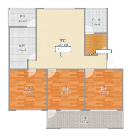 山大五宿舍3室2厅1卫1厨120.00㎡户型图