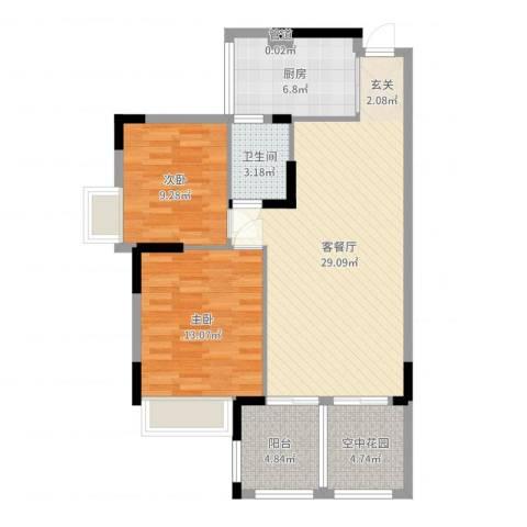 世纪城国际公馆贝丽湖2室2厅1卫1厨89.00㎡户型图