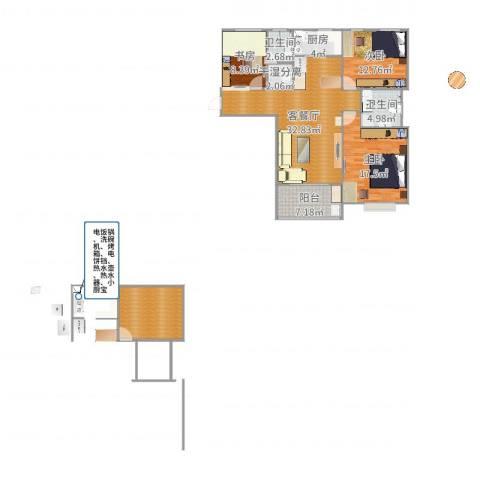 东方今典中央城3室2厅2卫1厨130.00㎡户型图