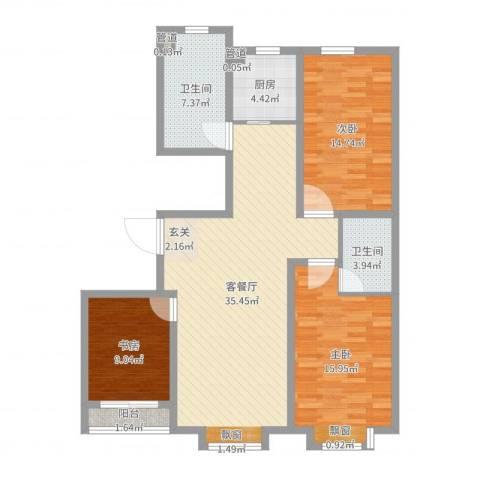 永强苑3室2厅2卫1厨116.00㎡户型图