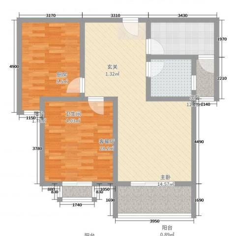 港汇花园2室2厅1卫1厨90.00㎡户型图