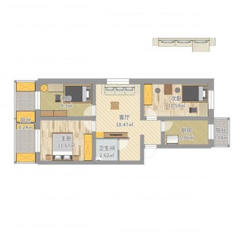 东营前街3室1厅1卫1厨87.00㎡户型图