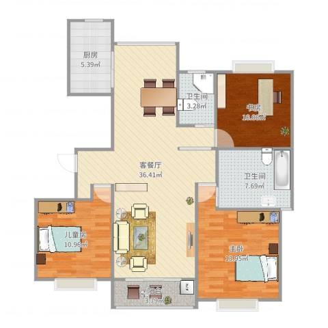 江桥佳苑3室2厅2卫1厨114.00㎡户型图